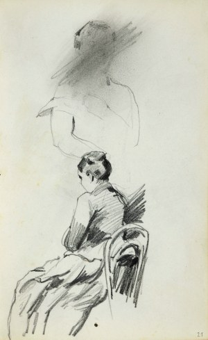 Stanisław KACZOR BATOWSKI (1866-1945), Kobieta w długiej sukni siedząca na krześle ukazana z lewego tyłu wyżej nieukończony, zakreślony przez artystę szkic popiersia kobiety