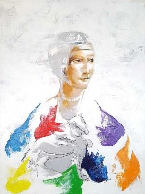 Janusz Tyrpak (ur. 1963), Time to Leonardo da Vinci - lady with a ermine-raibow, 2020