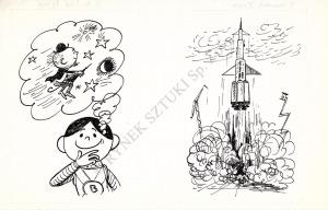Władysław Nehrebecki(1923-1978), Alfred Ledwig(1929-2006) i Leszek Lorek (1922-1977), Bolek i Lolek. Wyprawa w kosmos - 4 rysunki na 2 arkuszach