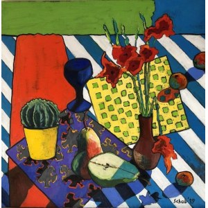 Dawid Schab ( 1973 ), Martwa natura z szafirowym kieliszkiem , 2019