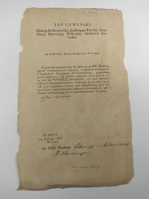 Odezwa drukowana biskupa wileńskiego w sprawie kapitałów duchowieństwa zakonnego.