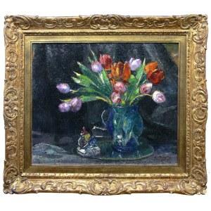 Mieczysław Rakowski (1883 Więckowice-1947 Namur/Belgia), Tulipany w wazonie, 1935 r.