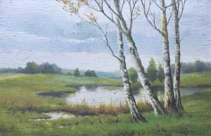 Wiktor Korecki (1890 Kamieniec Podolski - 1980 Milanówek k. Warszawy), Pejzaż z brzozami