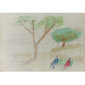 Alfred ABERDAM (1894-1963), W parku [Zielona ławeczka]