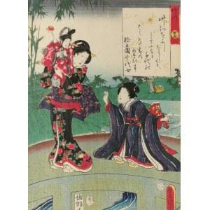 Utagawa KUNISADA (1786-1865), Na moście