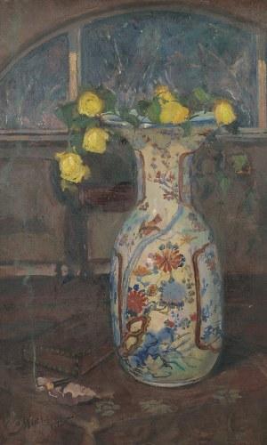 Leon WYCZÓŁKOWSKI (1852-1936), Żółte róże w chińskim wazonie, 1925