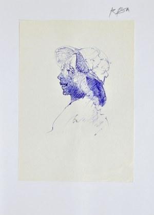 Roman BANASZEWSKI (1932-2021), Szkic głowy kobiety w kapeluszu z lewego profilu