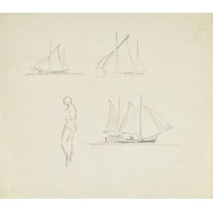 Stanisław ŻURAWSKI (1889-1976), Szkice łodzi oraz kobiety w stroju kąpielowym