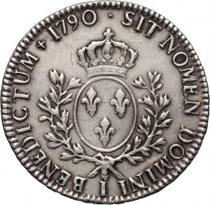 France, Louis XVI, Écu 1790 I, Limoges