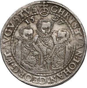 Niemcy, Saksonia, Krystian II, Jan Jerzy I i August, talar 1597 HB, Drezno