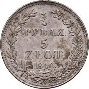 Zabór rosyjski, Mikołaj I, 3/4 rubla = 5 złotych 1840 MW, Warszawa