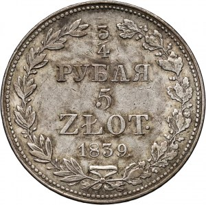 Zabór rosyjski, Mikołaj I, 3/4 rubla = 5 złotych 1839 MW, Warszawa