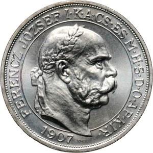 Węgry, Franciszek Józef I, 5 koron 1907 KB UP, Kremnica, Koronacja, Restrike, Stempel lustrzany