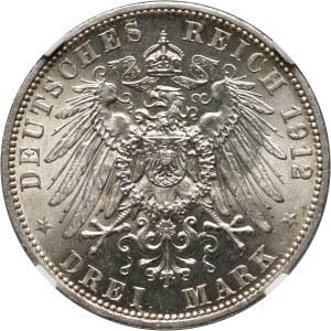 Niemcy, Prusy, Wilhelm II, 3 marki 1912 A, Berlin