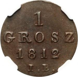 Księstwo Warszawskie, Fryderyk August I, grosz 1812 IB, Warszawa