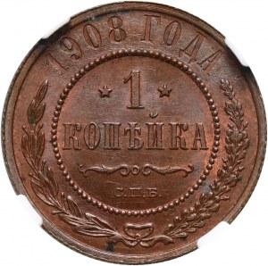 Rosja, Mikołaj II, kopiejka 1908 СПБ, Petersburg