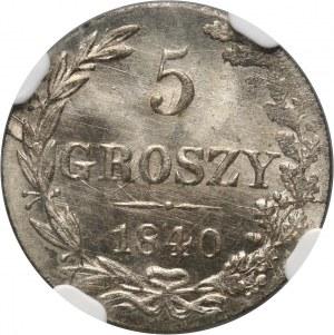 Zabór rosyjski, Mikołaj I, 5 groszy 1840 MW, Warszawa