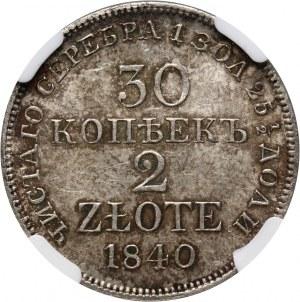 Zabór rosyjski, Mikołaj I, 30 kopiejek = 2 złote 1840 MW, Warszawa