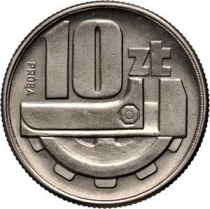 PRL, 10 złotych 1960, Klucz i koło zębate, PRÓBA, nikiel