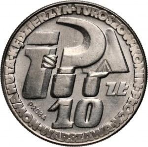 PRL, 10 złotych 1964, Klucz, sierp i kielnia, PRÓBA, nikiel, ZE ZNAKIEM MENNICY