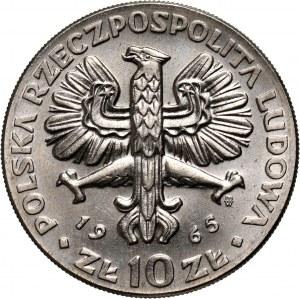 PRL, 10 złotych 1965, VII wieków Warszawy, PRÓBA, nikiel