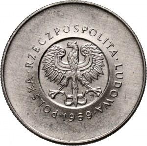 PRL, 10 złotych 1969, 25. rocznica PRL, PRÓBA, nikiel, z monogramem JJ na rewersie