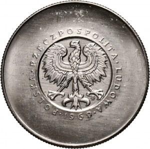 PRL, 10 złotych 1969, 25. rocznica PRL, PRÓBA, nikiel, bez monogramu JJ na rewersie