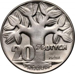 PRL, 20 złotych 1964, Drzewo, PRÓBA, nikiel