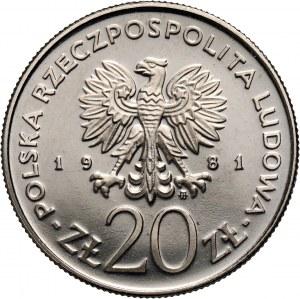 PRL, 20 złotych 1981, Kościół Mariacki w Krakowie, PRÓBA, nikiel