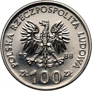 PRL, 100 złotych 1988, Jadwiga, PRÓBA, nikiel