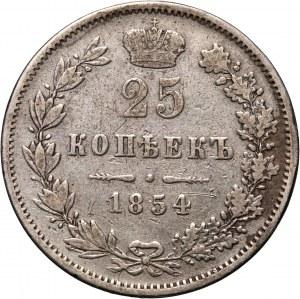 Zabór rosyjski, Mikołaj I, 25 kopiejek 1854 MW, Warszawa
