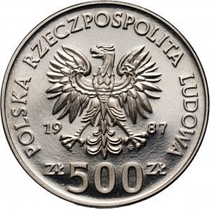 PRL, 500 złotych 1987, Kazimierz III Wielki, PRÓBA, nikiel
