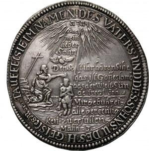 Niemcy, Saksonia-Gotha, Ernest I Pobożny, talar chrzcielny (tauftaler) 1670, Gotha