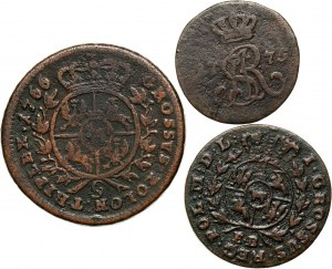 Stanisław August Poniatowski, zestaw 3 miedzianych monet ze starymi etykietkami