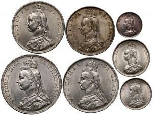 Wielka Brytania, Wiktoria, zestaw monet z 1887 roku, Złoty Jubileusz