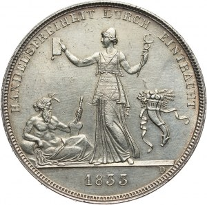 Niemcy, Wirtembergia, Wilhelm I, talar 1833, Wolny handel