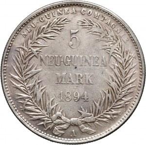 Germany, New Guinea, 5 Mark 1894 A, Berlin, Paradise Bird