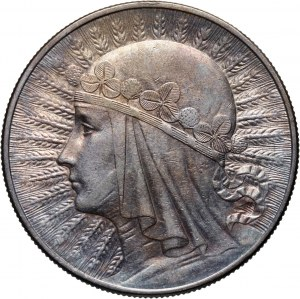 II RP, 10 złotych 1933, Warszawa, Głowa kobiety