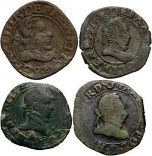 Henryk III Walezy, zestaw 4 miedzianych monet