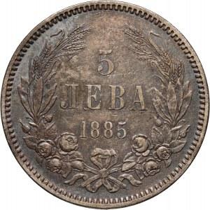 Bulgaria, Ferdinand I, 5 Leva 1885