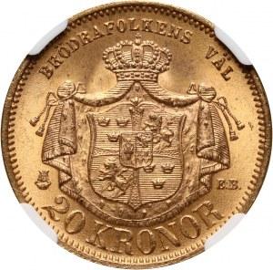 Sweden, Oscar II, 20 Corona 1877 EB