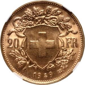 Szwajcaria, 20 franków 1949 B