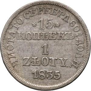 Zabór rosyjski, Mikołaj I, 15 kopiejek = 1 złoty 1835 MW, Warszawa