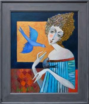 Jan Bonawentura Ostrowski, Dziewczyna i błękitny ptak, 2020