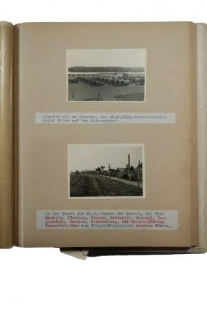 [KAMPANIA WRZEŚNIOWA] 2 albumy oryginalnych fotografii - wraz z opisem - żołnierza niemieckiego pokazujące przygotowania do wojny oraz jego udział w Kampanii Wrześniowej i marsz przez podbijaną Polskę. UNIKAT !