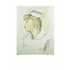 BEREZOWSKA Maja - Oryginalna akwarela, piórko / prezent dla wymienionej w dedykacji z imienia i nazwiska opiekunki z sanatorium w Krynicy, w którym przebywała Maja Berezowska we wrześniu 1965 roku. Rozmiar ok. 23 x 31cm