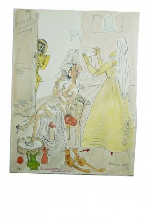 BEREZOWSKA Maja - Oryginalna akwarela/piórko dla dietetyczki z sanatorium w Krynicy, wykonana jako prezent/podziękowanie za opiekę w trakcie pobytu w sanatorium w Krynicy w 1965 roku. Rozmiar ok 23,5 x 31cm.