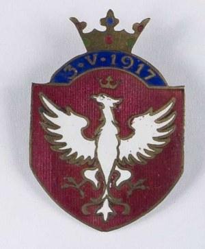 Odznaka patriotyczna 3.V.1917 - tarcza herbowa z koroną