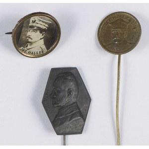 Zestaw 3 odznak patriotycznych z portretem generała Józefa Hallera