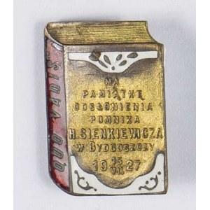 Odznaka Na Pamiątkę odsłonięcia pomnika Henryka Sienkiewicza w Bydgoszczy 15 VII 1927